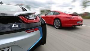 BMW i8, Porsche 911 Carrera S, Heck