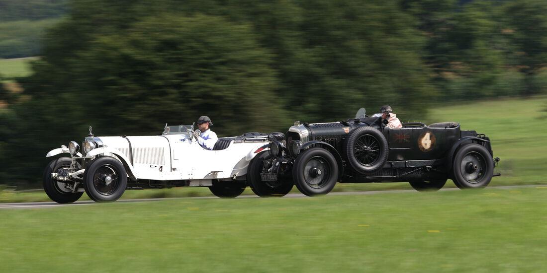 Bentley 4,5 Litre Blower, Mercedes 27/180/250 Typ 710 SS, Seitenansicht
