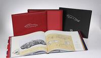 Buch Leder gebunden offen eins 50 Jahre Jaguar E-Type