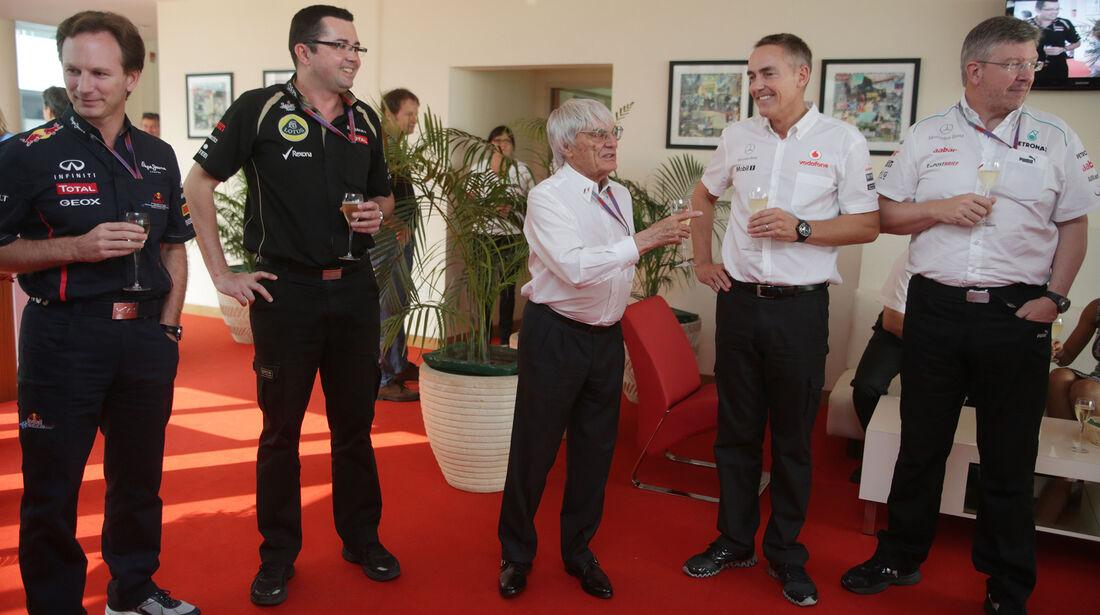 Christian Horner - Eric Boullier - Bernie Ecclestone - Martin Whitmarsh - Ross Brawn - GP Indien 2012