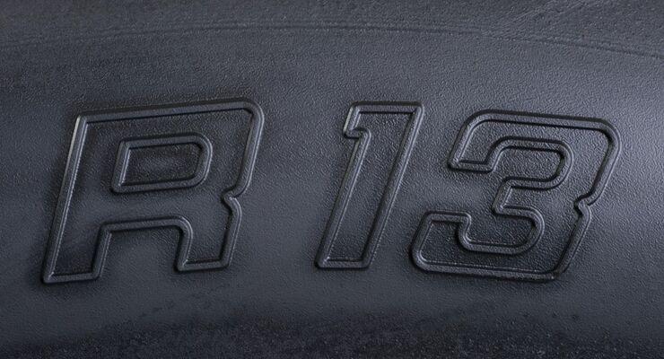 Dieser Reifen verlangt einen Felgendurchmesser von 13 Zoll.