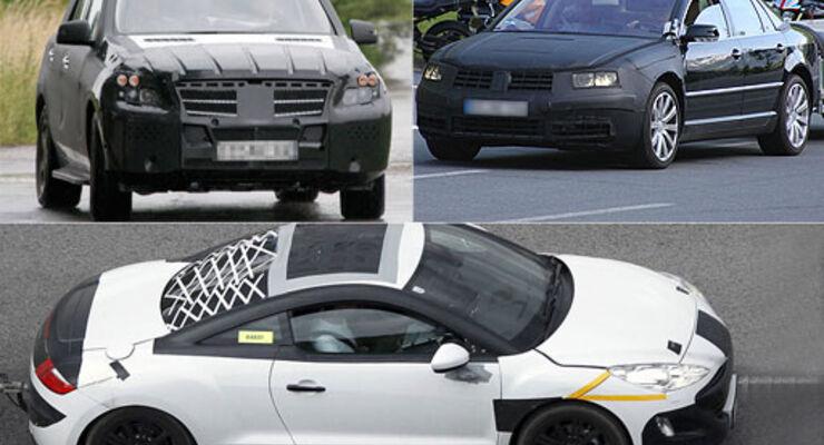 Erlkönig Mercedes ML, Peugeot CR-Z, VW Phaeton