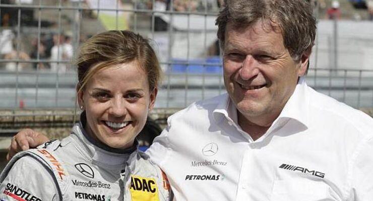 Etwas Trost vom Mercedes-Motorsportchef: Susie Wolff und Norbert Haug