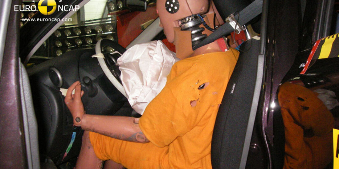 EuroNCAP-Crashtest, Nissan Micra, Fahrer-Crashtest
