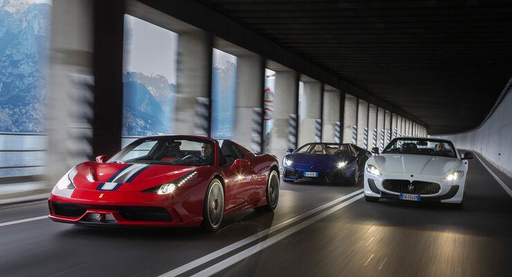 Ferrari 458 Speciale A, Lamborghini Aventador Roadster, Maserati Gran Cabrio MC