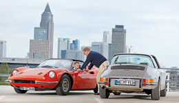 Ferrari Dino 246 GTS, Porsche 911 S Targa, Skyline