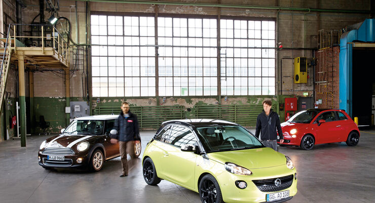 Fiat 500, Mini One, Opel Adam, Frontansicht