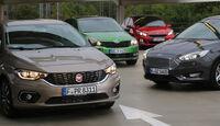 Fiat Tipo 1.4 T-Jet, Ford Focus 1.0 Ecoboost, Kia Cee'd 1.0 T-GDI, Skoda Rapid Spaceback 1.4 TSI