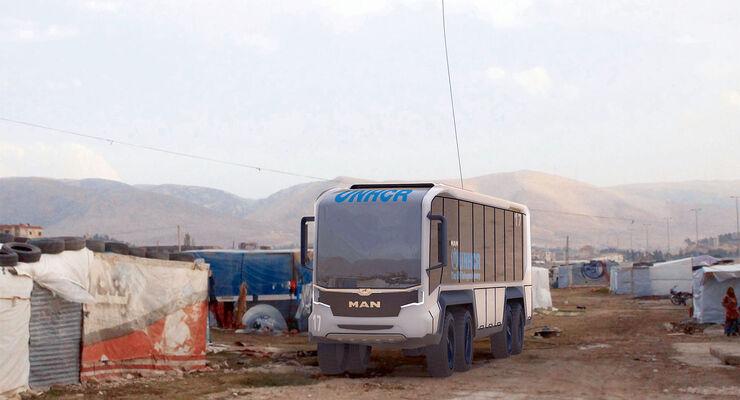Flexibles humanitäres Fahrzeugkonzept flexHVC – MAN Bus 8x8 für Krisengebiete