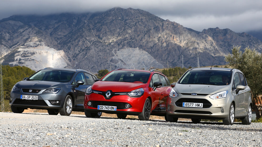 Ford B-Max 1.6 TDCi, Renault Clio Grandtour dci 90, Seat Ibiza ST 1.6 TDI, Frontansicht
