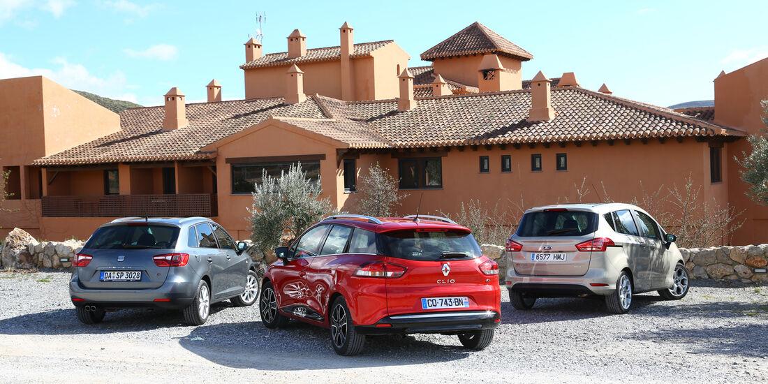 Ford B-Max 1.6 TDCi, Renault Clio Grandtour dci 90, Seat Ibiza ST 1.6 TDI, Heckansicht