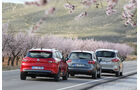 Ford B-Max 1.6 TDCi, Renault Clio Grandtour dci 90, Seat Ibiza ST 1.6 TDI, Heckansicht
