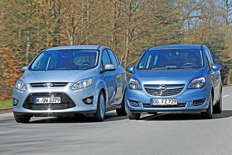 Ford C-MAX 2.0 TDCi, Opel Meriva 1.6 CDTI, Frontansicht