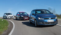 Ford Fiesta Black Edition, Suzuki Swift Sport, VW Polo Blue GT, Frontansicht