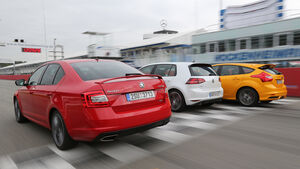 Ford Focus ST, Skoda Octavia RS, VW Golf GTI Performance, Heckansicht