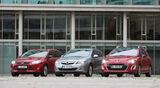 Ford Focus Turnier 1.6 Ecoboost Titanium, Opel Astra Sp.Tourer 1.4 Turbo Innovation, Peugot 308 SW 155 THP Allure, Frontansicht, alle Fahrzeuge