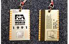 Formel 1 Presse-Akkreditierung Saison 1991