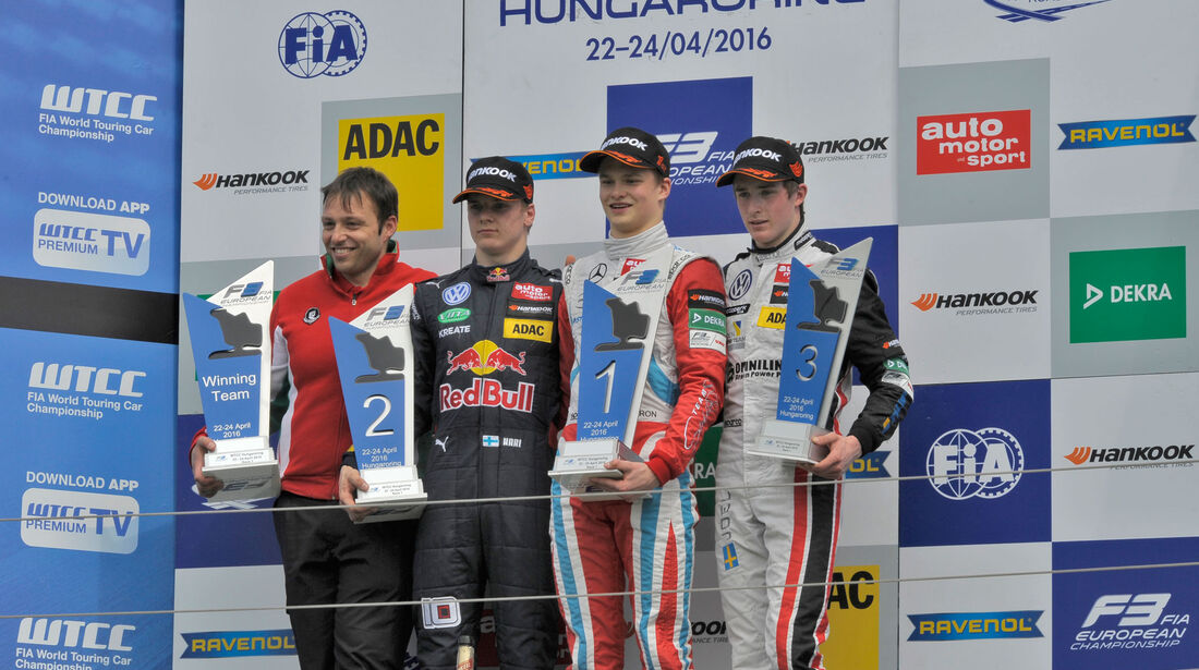 Formel 3-EM 2016 - Ungarn - Hungaroring - Podest - 1. Rennen