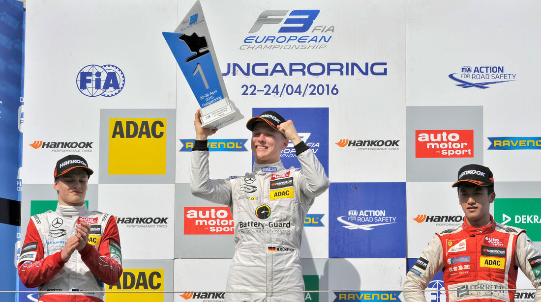 Formel 3-EM 2016 - Ungarn - Hungaroring - Podest - 2. Rennen