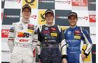 Formel 3 Spielberg 2012, Rennen 2, Siegerehrung William Buller, Michael Lewis, Tom Blomqvist