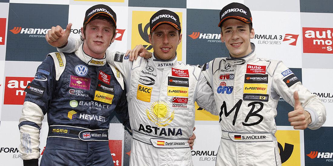 Formel 3 Spielberg 2012, Rennen 3, Siegerehrung William Buller, Daniel Juncadella, Sven Mueller
