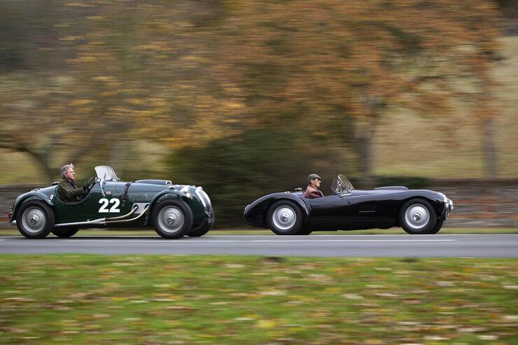 Frazer Nash Le Mans Replica, Frazer Nash Mille Maglia, Seitenansicht, beide Fahrzeuge