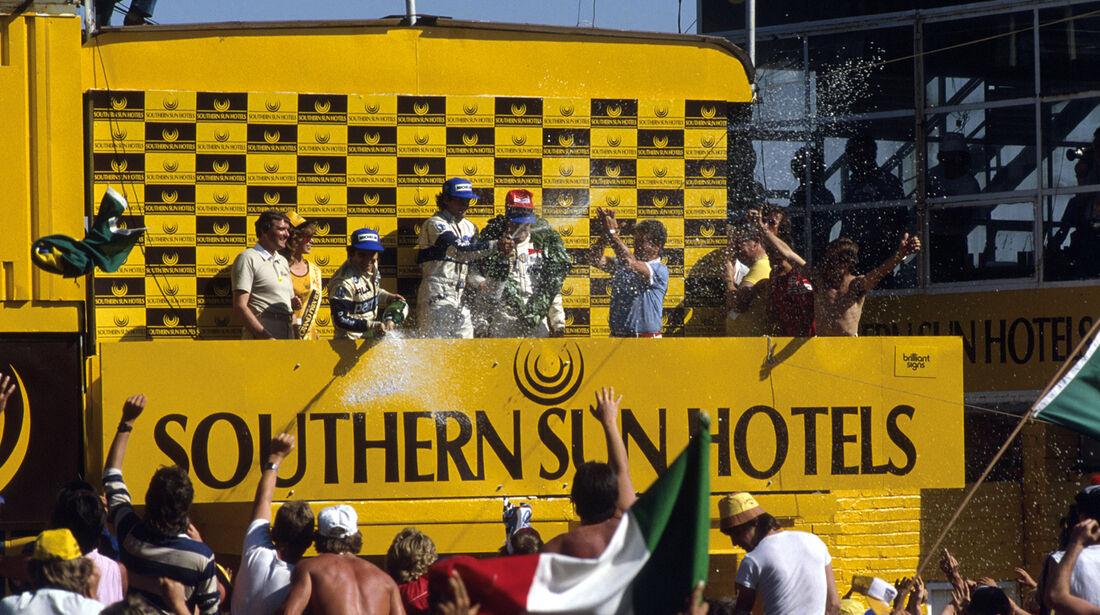 GP Südafrika 1983 - Kyalami - Podium - Piquet, Patrese & De Cesaris