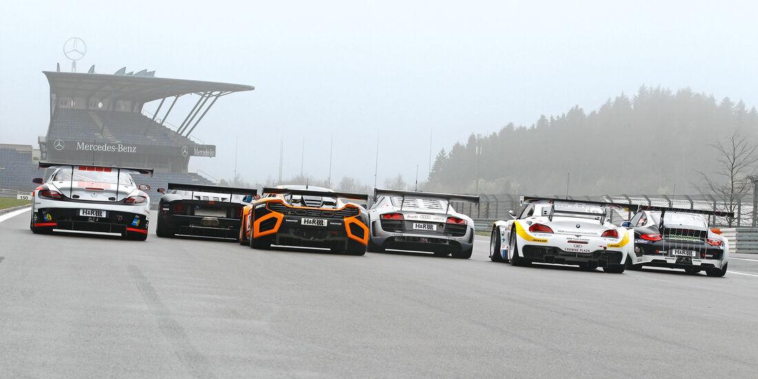 GT3-Modelle, Porsche, Audi, Ford, BMW, Mercedes, McLaren, Heck