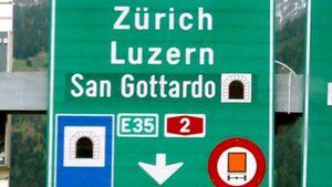 Gotthard, Verkehrsschild