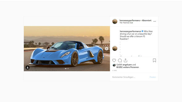 Hennessey Venom F5 Roadster Instagram Posting