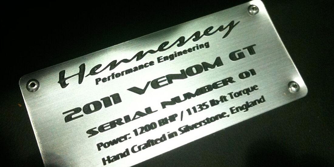 Hennessey Venom GT, Plakette mit Seriennummer