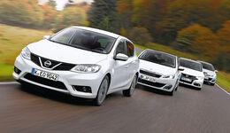 Honda Civic, Nissan Pulsar, Opel Astra, Peugeot 308