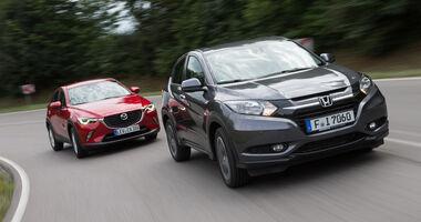 Honda HR-V 1.6 i-DTEC, Mazda CX-3 D 105, Frontansicht