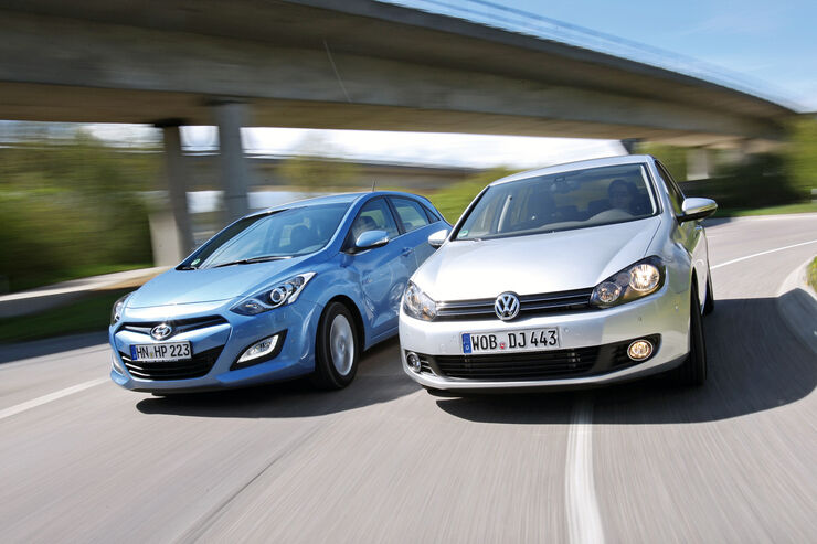 Hyundai i30 1.6 CRDi, VW Golf 1.6 TDI, Frontansicht