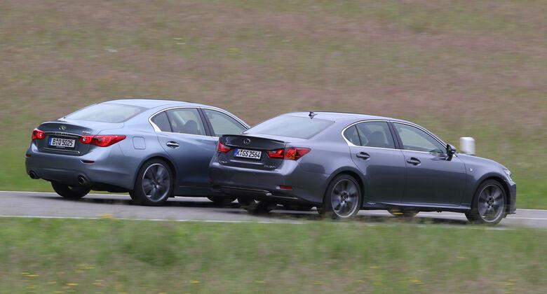 Infiniti Q50 S 3.5 V6 Hybrid, Lexus GS 450h F-Sport, Seitenansicht