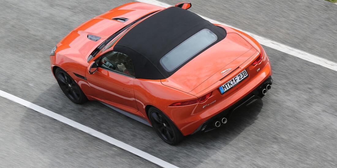 Jaguar F-Type S, Heckansicht, von oben