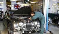 Jaguar MK 2, Werkstatt, Frontansicht, Motorhaube offen
