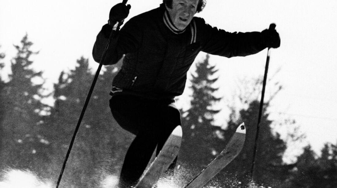 Jochen Rindt beim Skifahren