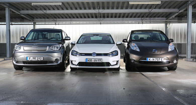 Kia Soul EV, Nissan Leaf, VW e-Golf