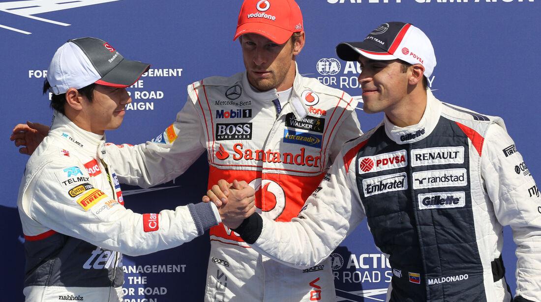 Kobayashi, Button & Maldonado - Formel 1 - GP Belgien - Spa-Francorchamps - 1. September 2012
