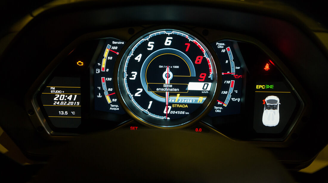 Lamborghini Aventador Roadster, Rundinstrumente