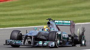 Lewis Hamilton GP England 2013 Reifenschaden