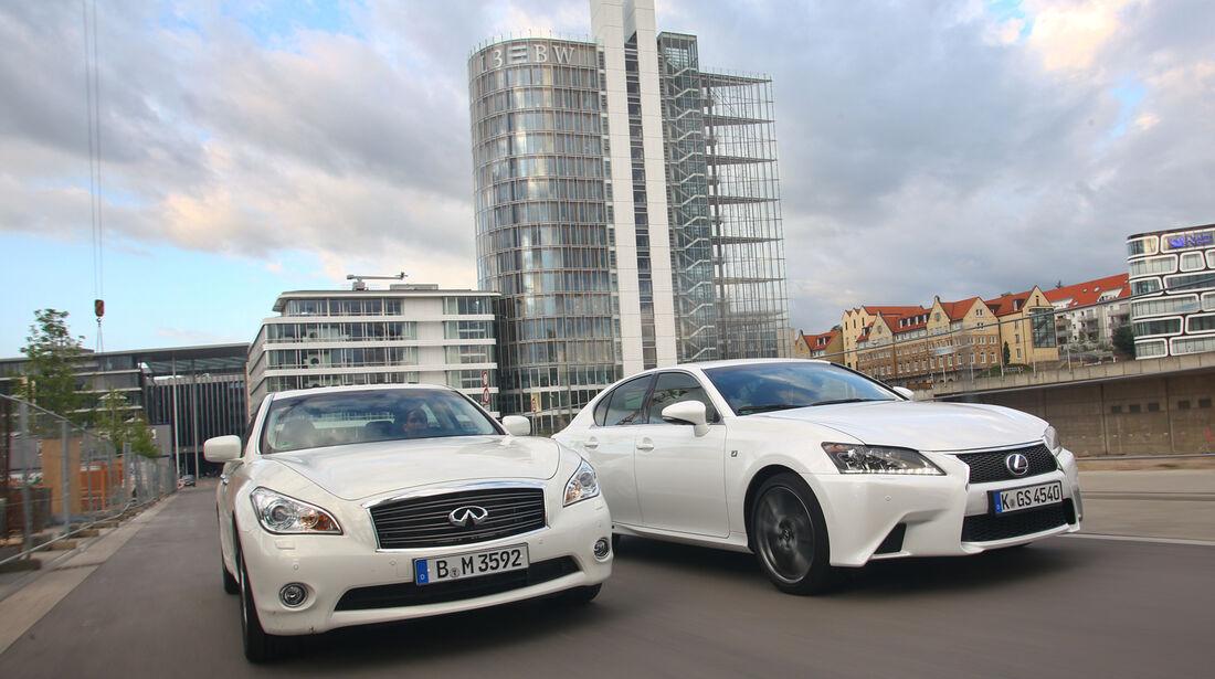 Lexus GS 450h F-Sport, Infiniti M35h GT Premium, Frontansicht