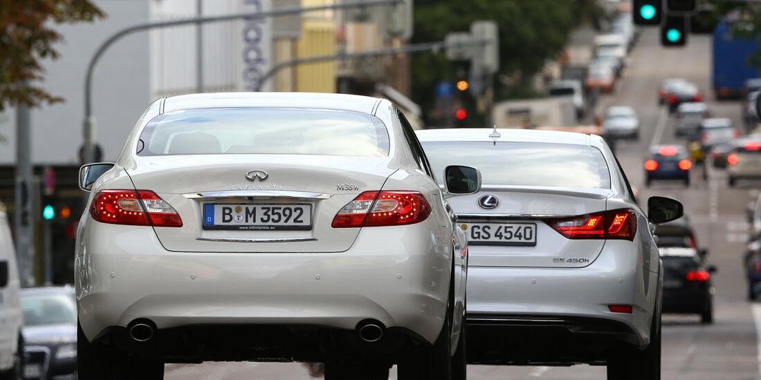 Lexus GS 450h F-Sport, Infiniti M35h GT Premium, Heckansicht