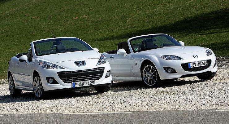 Mazda MX-5 1.8 Roadster und Peugeot 207CC 120 VTi