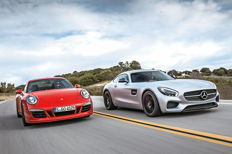 Mercedes AMG GT S, Porsche 911 Carrera GTS, Frontansicht