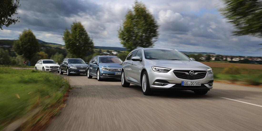 Mercedes C-Klasse T-Modell, Opel Insignia Sports Tourer, Skoda Superb Combi, VW Passat Variant, Exterieur