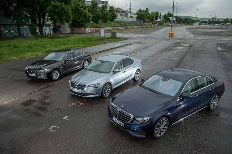 Mercedes-E-200-BMW-520i-Skoda-Superb-VT-