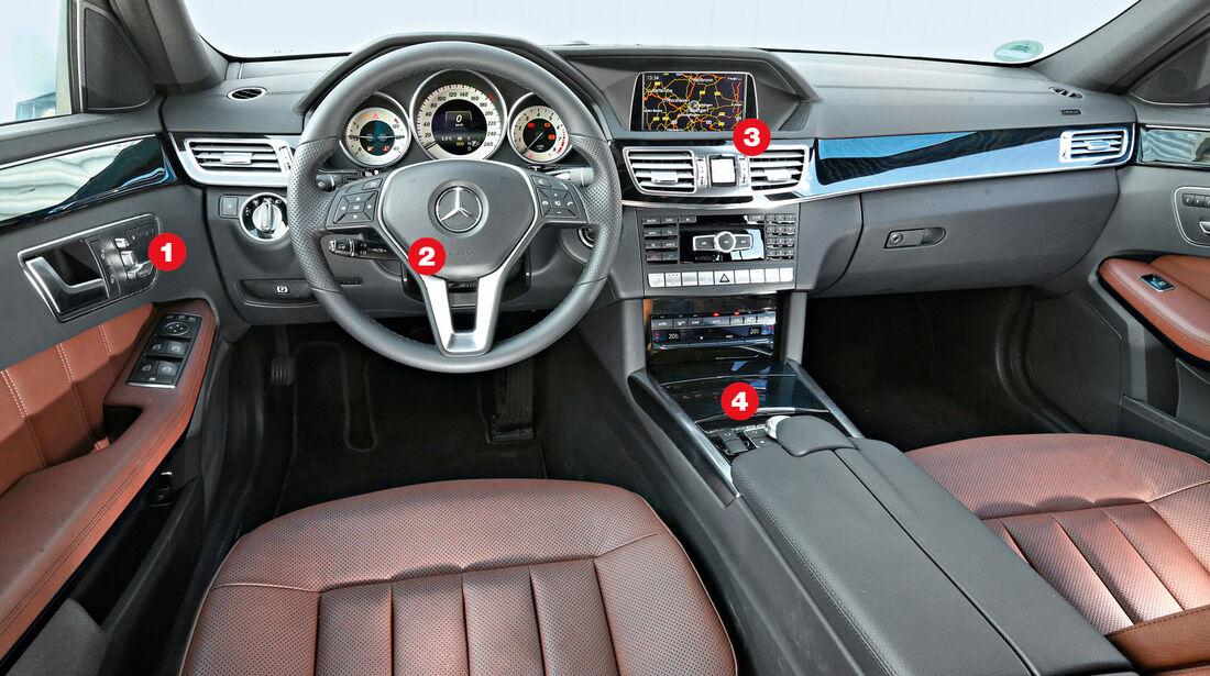Mercedes E 200 T, Cockpit, Lenkrad