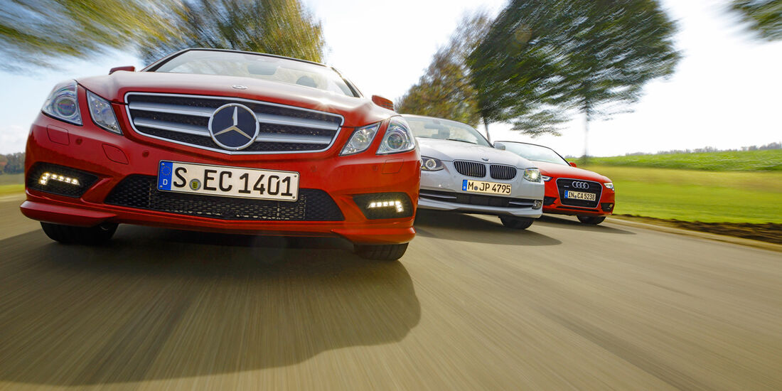 Mercedes E 350 Cabriolet, BMW 335i Cabriolet, Audi Cabriolet 3.0 TFSI Quattro, Kühlergrill